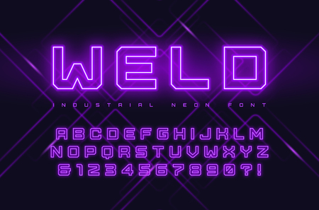 Vector neon industrial style display typeface, font, alphabet, typography. Global swatches