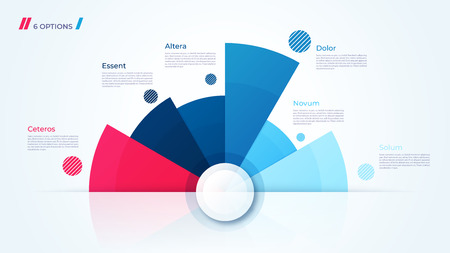 Vector circle chart design, modern template for creating infographics, presentations, reports, visualizations. Global swatches Illustration