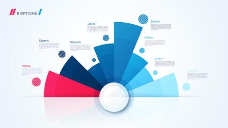 Projekt wykresu kołowego wektor, nowoczesny szablon do tworzenia infografik, prezentacji, raportów, wizualizacji. Próbki globalne Ilustracje wektorowe