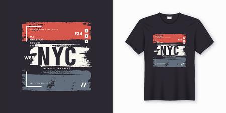 Design astratto di t-shirt e abbigliamento alla moda di New York City. Stampa vettoriale, tipografia, poster. Campioni globali. Vettoriali