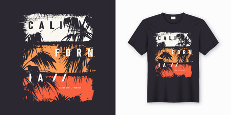 California Ocean side stylish t-shirt and apparel trendy design with palm trees silhouettes, typography, print, vector illustration. Global swatches. 免版税图像 - 109908882