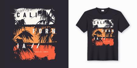 Conception tendance de t-shirt et de vêtements élégants côté océan de Californie avec des silhouettes de palmiers, typographie, impression, illustration vectorielle. Nuancier global. Vecteurs