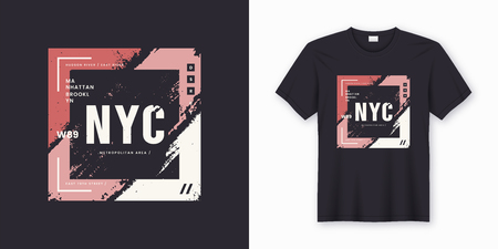 New York City stylish t-shirt and apparel abstract design. Vector print, typography, poster. Global swatches.