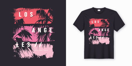 Los Angeles Malibu Lagoon stylish t-shirt and apparel trendy design with palm trees silhouettes, typography, print, vector illustration. Global swatches. Illustration