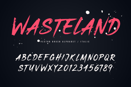 Wasteland vector brush style font, alphabet, typeface, typography Global swatches