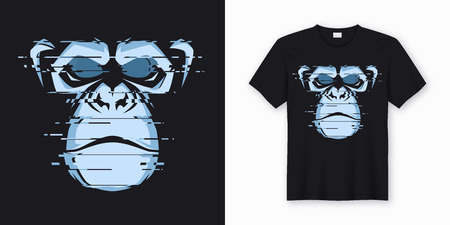 Vector t-shirt and apparel design with glitchy head of a chimp ape. Global swatches. Illustration