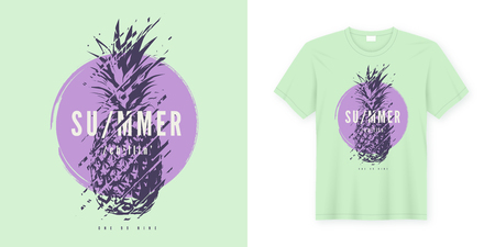 Vector t-shirt design with glitchy pineapple on a grunge background. Global swatches.