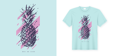 Vector t-shirt abstract design with glitchy pineapple. Global swatches.