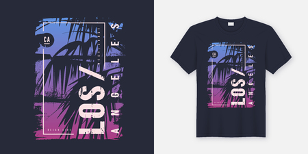 Los Angeles California graphic tee vector design with palm tree silhouette. Global swatches.