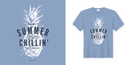 Summer chillin graphic tee vector design with stylized pinapple. Global swatches. Foto de archivo - 109673913