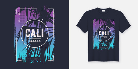 California graphic tee vector design with palm tree silhouette. Global swatches. Banco de Imagens - 109673914