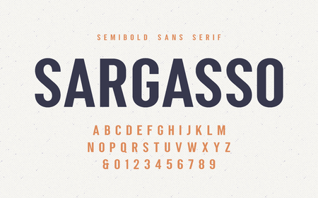 Sargasso semibold san serif vector font, alphabet, typeface Ilustração
