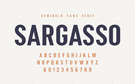 Sargasso semibold san serif vector font, alphabet, typeface Illustration