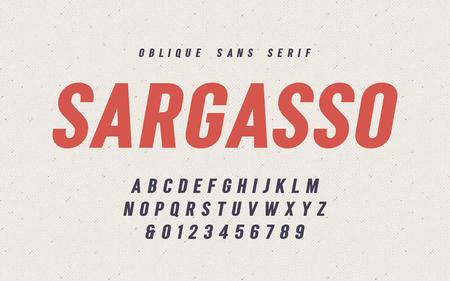 Sargasso oblique san serif vector font, alphabet, typeface Ilustração