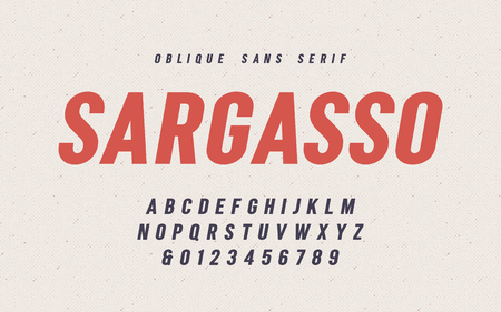Sargasso oblique san serif vector font, alphabet, typeface Illustration