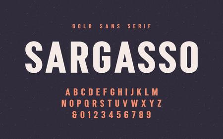 Sargasso bold san serif vector font, alphabet, typeface Banque d'images - 115809868