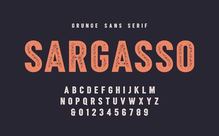 Sargasso grunge san serif vector font, alphabet, typeface Ilustração