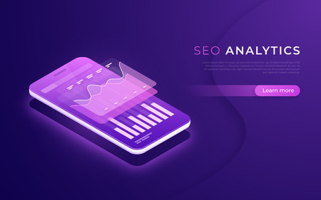 SEO analytics, data analysis, digital marketing strategy isometric concept. Vector illustration.