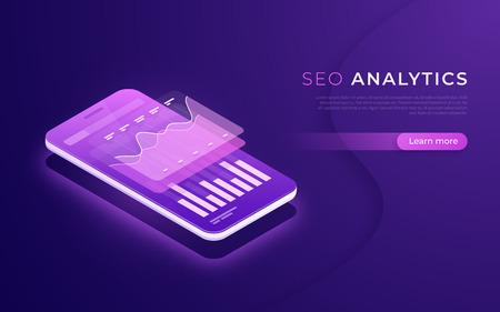SEO analytics, data analysis, digital marketing strategy isometric concept. Vector illustration.