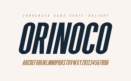 Orinoko condensed oblique san serif vector font, alphabet, typeface