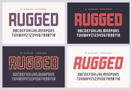 Police vectorielle robuste san serif, alphabet, police de caractères, lettres majuscules et chiffres