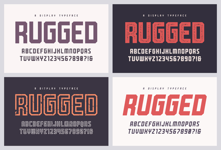 Rugged san serif vector font, alphabet, typeface, uppercase letters and numbers 版權商用圖片 - 115809871