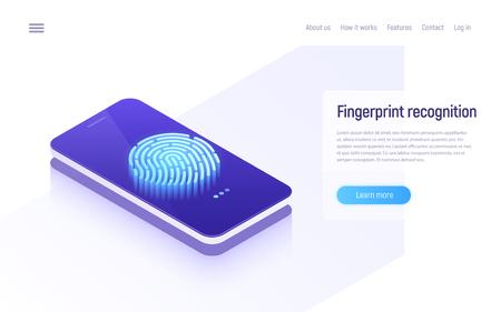 Fingerprint recognition, data protection, secure access, user identification isometric concept. Vector illustration Illusztráció