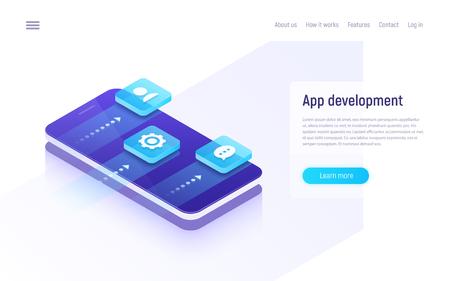 Mobile app development isometric concept Vector illustration.