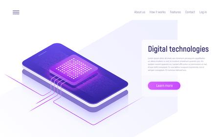 Digital technologies, data processing isometric concept. Vector illustration