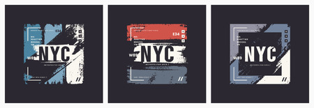 New York City t-shirt and apparel brush style vector abstract geometric designs