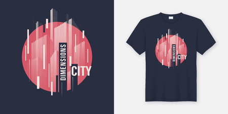 City dimensions. Vector t-shirt abstract geometric dynamic design with styled urban skyline. Illustration