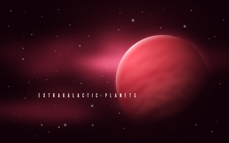Deep space sci-fi abstract vector illustration with gas giant an Vettoriali