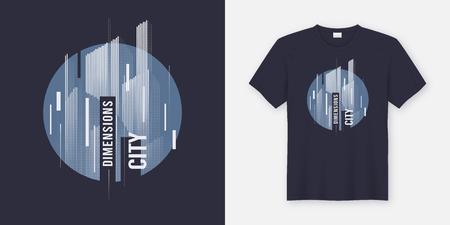 City dimensions. Vector t-shirt abstract geometric dynamic design with styled urban skyline. Illusztráció
