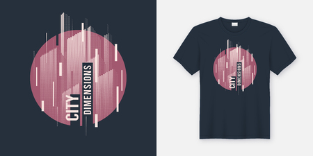 City dimensions. Vector t-shirt abstract geometric dynamic design with styled urban skyline.