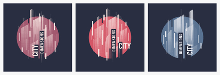 City dimensions. Vector t-shirt abstract geometric dynamic designs with styled urban skyline.