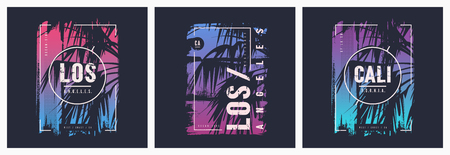 Los Angeles California graphic tee vector designs with palm tree silhouette