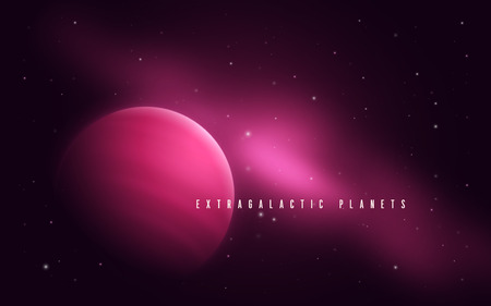 Deep space sci-fi abstract vector illustration with gas giant an
