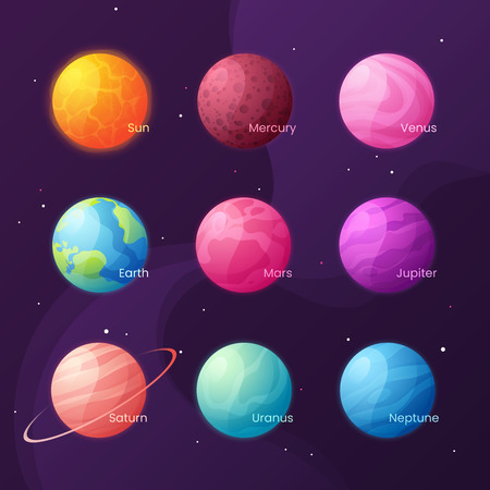 The Solar system. Colorful cartoon set with sun and planets. Vector illustration.