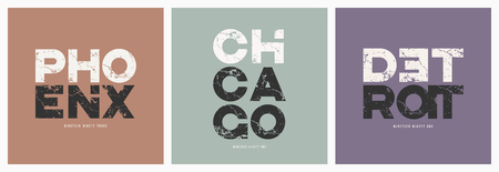 Phoenix Chicago Detroit cities t-shirt and apparel vector grunge