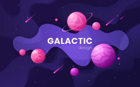 Fond d'espace extra-atmosphérique futuriste de galaxie de dessin animé, conception, artwor