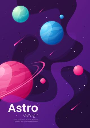 Deep space futuristic cartoon background, cover, brochure templa Illustration