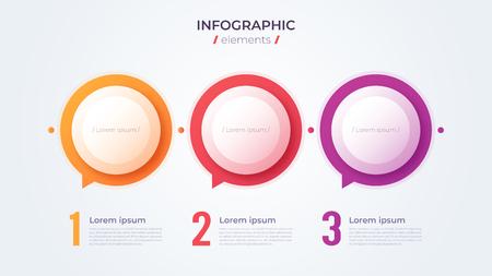 Minimalistic infographic concept with 3 options. Vector template for web, presentations, reports, visualizations Illusztráció