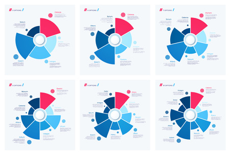 Set of pie chart concepts. Vector templates for web, presentations, reports, visualizations Illustration