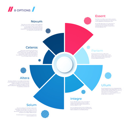 Pie chart concept with 8 parts. Vector template for web, presentations, reports, visualizations