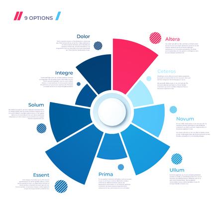 Pie chart concept with 9 parts. Vector template for web, presentations, reports, visualizations Illusztráció