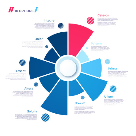Pie chart concept with 10 parts. Vector template for web, presentations, reports, visualizations