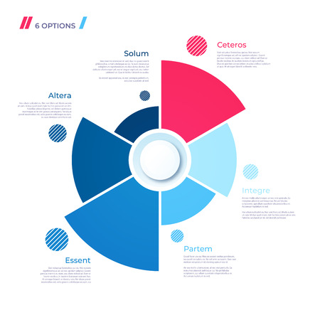Pie chart concept with 6 parts. Vector template for web, presentations, reports, visualizations