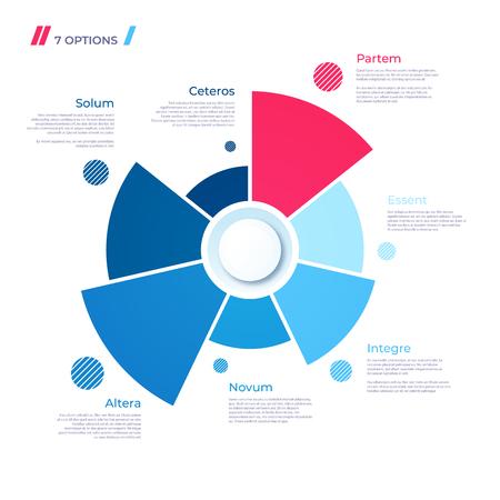 Kreisdiagrammkonzept mit 7 Teilen. Vektorvorlage für Web, Präsentationen, Berichte, Visualisierungen