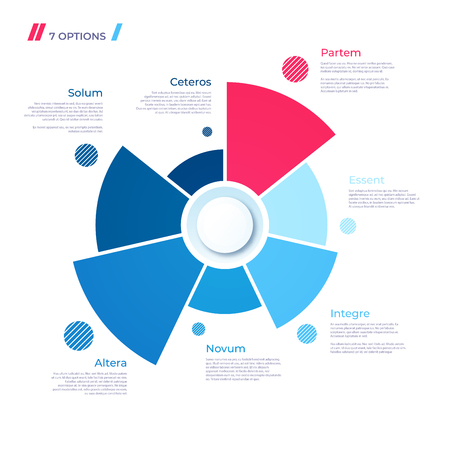 Pie chart concept with 7 parts. Vector template for web, presentations, reports, visualizations Illustration