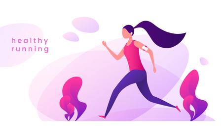 Young woman runs in the park. Healthy lifestyle concept. Vector illustration.